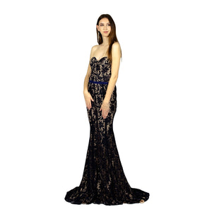 Strapless Sweetheart Lace Navy Evening Dress Envious Bridal & Formal Perth Australia
