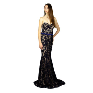 Strapless  Lace Navy Evening Formal Dresses Envious Bridal & Formal Online Australia