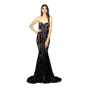 Strapless Sweetheart Lace Navy Evening Dress Envious Bridal & Formal