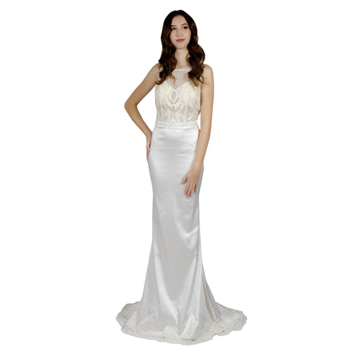 Scoop Neck Lace & Silk Wedding Dress Envious Bridal & Formal Perth WA Australia