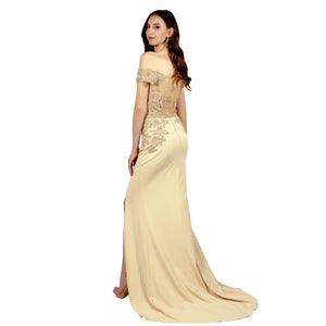 MYSTIQUE | Off Shoulder Lace Bodice Beige Formal Gown - All Products Envious Bridal
