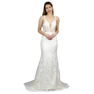 Thick Strap Sheer Bodice Mermaid Wedding Gowns Envious Bridal & Formal