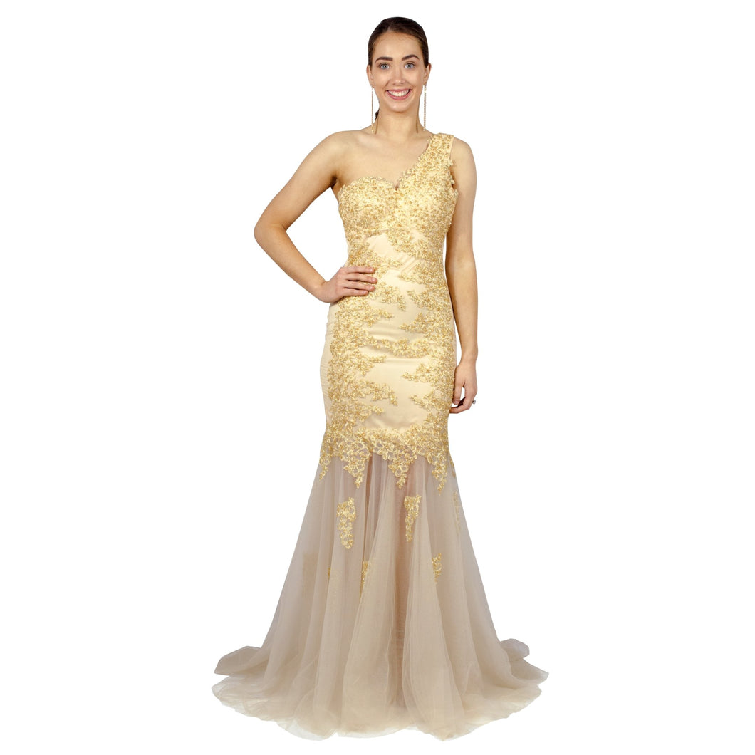 OTTILIA | One Shoulder Beaded Gold Fishtail Formal Dress - All Products Envious Bridal