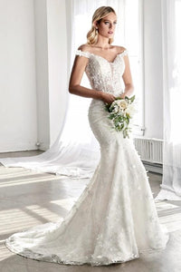 PERLINE | Off Shoulder 3D Floral Lace Wedding Gown - Wedding Dress Envious Bridal & Formal