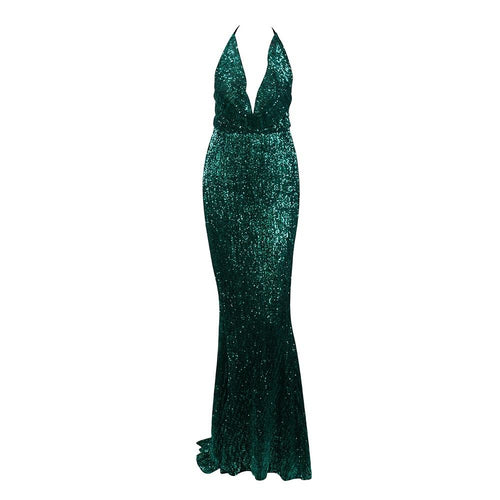 RIVERLYN | Halter Style Green Sequin Dress - All Products Envious Bridal