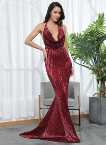 RIVERLYN | Halter Style Wine Sequin Dress - All Products Envious Bridal