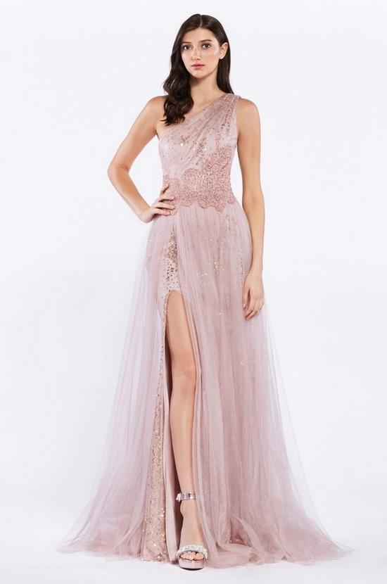TULIANA | One Shoulder Tulle Rose Gold Formal Gown - All Products Envious Bridal
