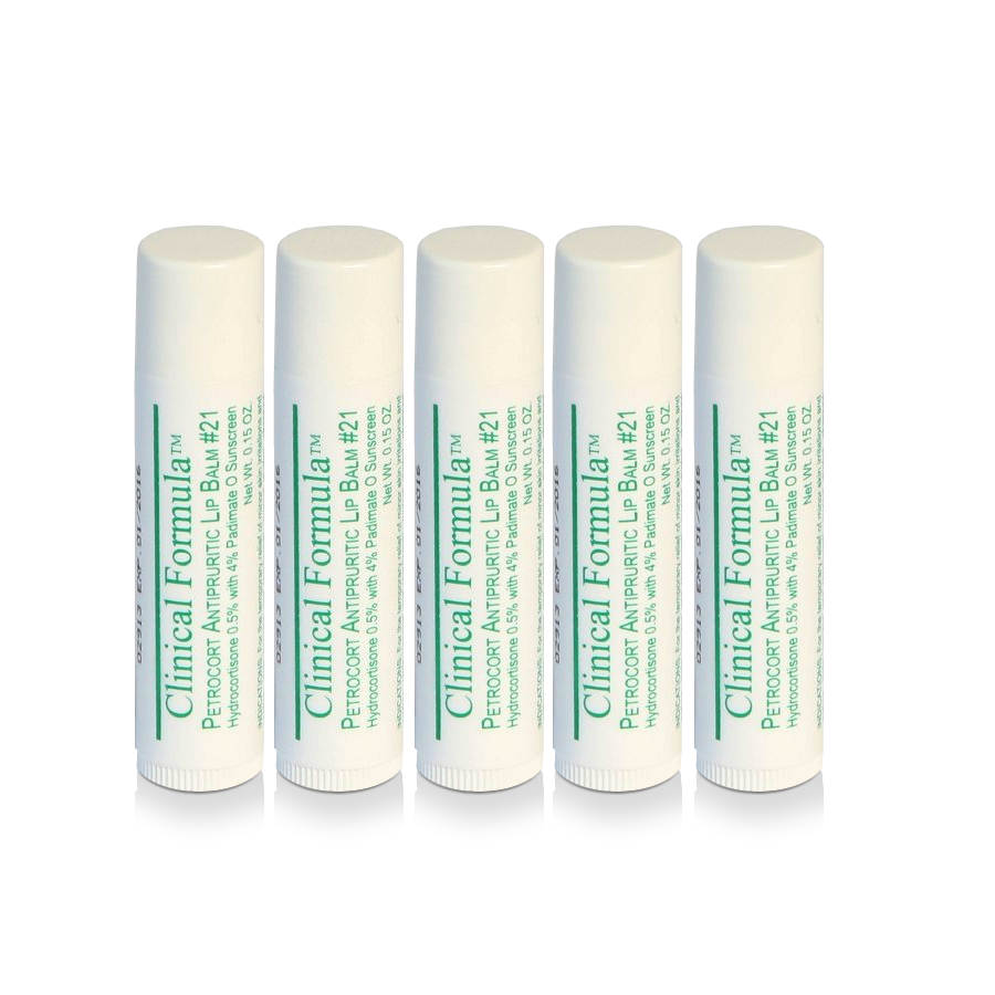 Petrocort Antipruritic Lip Balm with Hydrocortisone 5-Pack