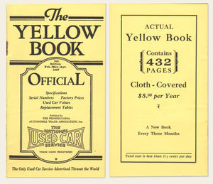 "1927 National Used Car ""Yellow Book"""