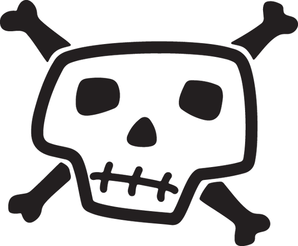 286CA - Cartoon skull and bones