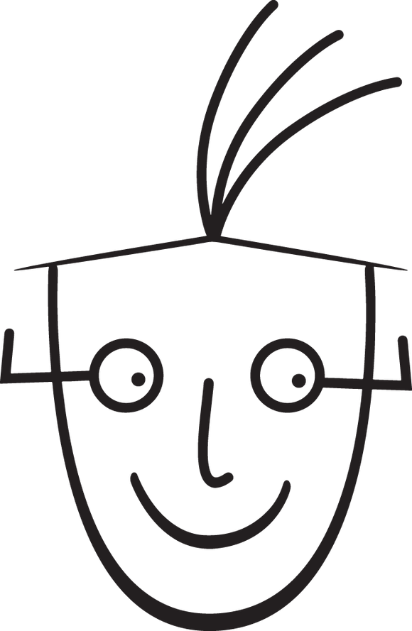 331CA - Cartoon head with glasses