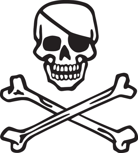372CA - Skull and bones with eye patch