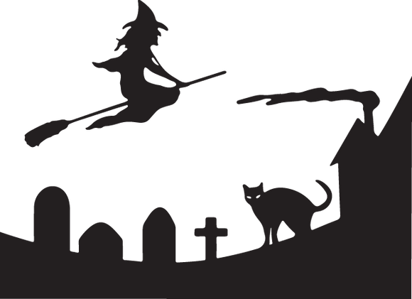 375CA - Witch on broom with tombstones and cat