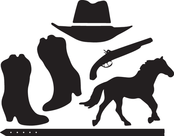 392SA - Western boots, hat, gun and horse