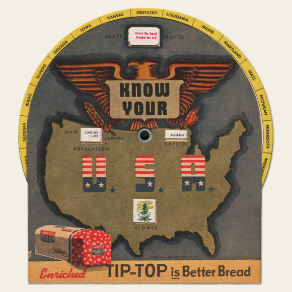 1944 Tip-Top Bread US States Chart