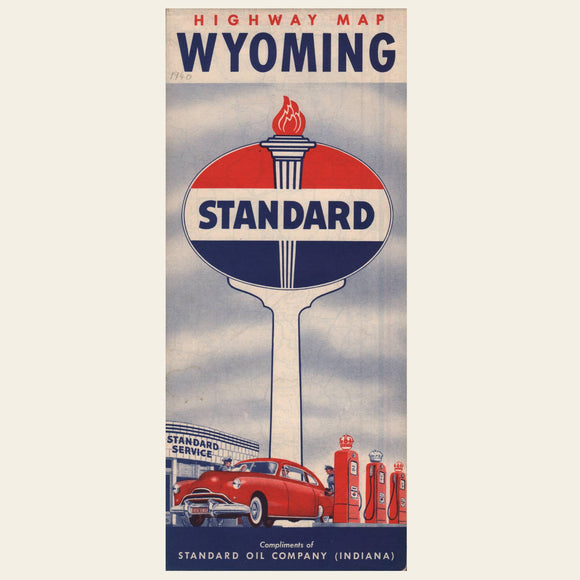 1940 Standard Oil Highway Map of Wyoming