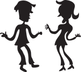 424GA - Cartoon silhouette of man and woman dancing