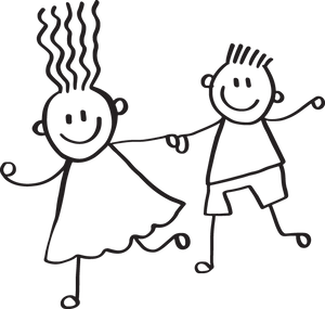 439CA - Child's naive drawing of a boy and girl
