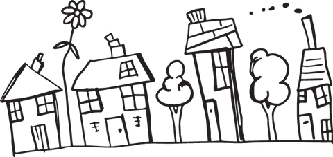 441CA - Child's naive drawing of houses