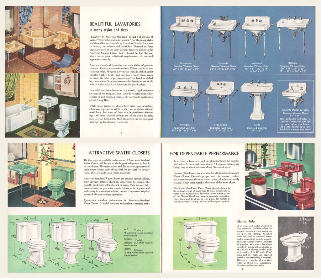 1950 American Standard Plumbing and Heating Fixtures Brochure – OldCuts