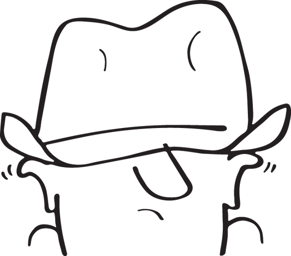 54CA - Cartoon man with hat