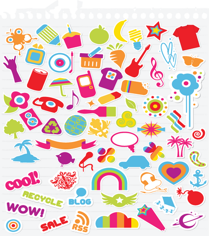 636 children's notebook icons (scrapbook)