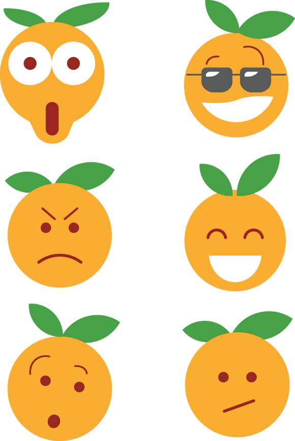 674 Orange Face Cartoon Icons