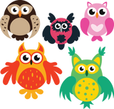 690 Cartoon Owls