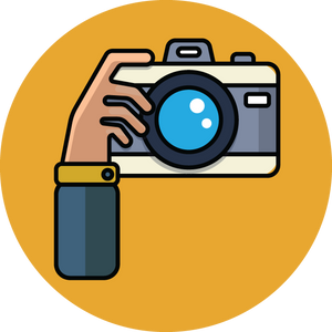710 cartoon illustration of hand with camera
