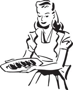 90RA - Woman serves food