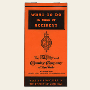 "1939 Fidelity ""What to do in case of an accident"" booklet"