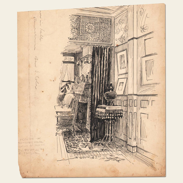 Pen & Ink Illustration of Bradey House Interior