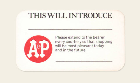 1960s A&P Introduction card