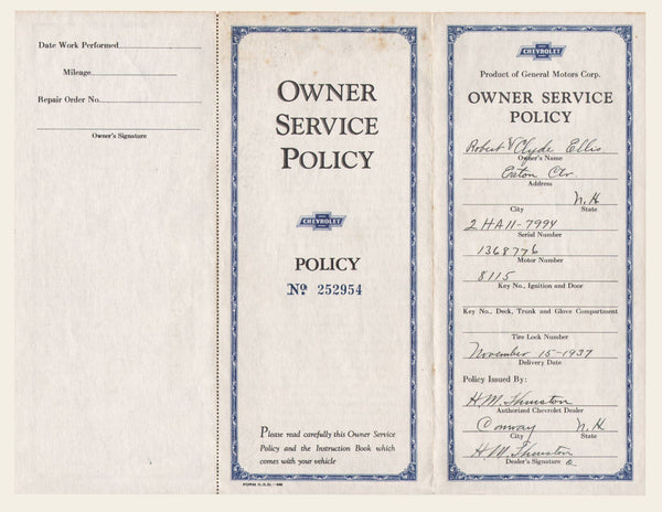 1937 Chevrolet Owner Service Policy & Invoice