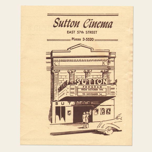1945 Sutton Cinema Program, NYC