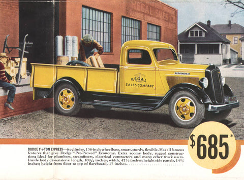 1936 Dodge 1-1/2 Ton Trucks Brochure/Mailer