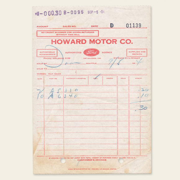 1934 Ford Parts Receipt
