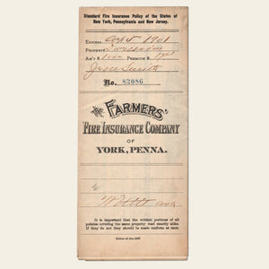 1898 Farmers Fire Insurance Policy