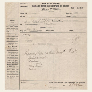 1917 and 1920 Packard Motor Company Invoices