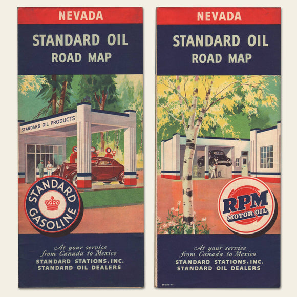 1940 Standard Oil Road Map for Nevada