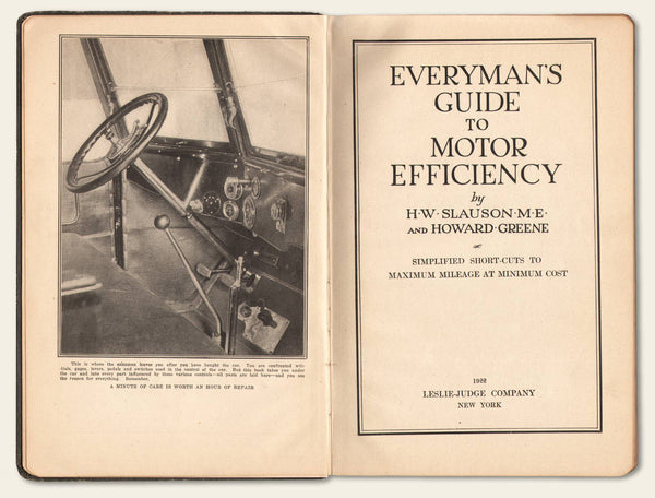 "1922 Book Titled ""Everyman's Guide to Motor Efficiency"""