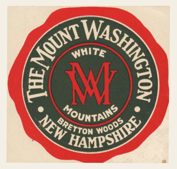 1940s (?) Mount Washington Hotel Luggage Label