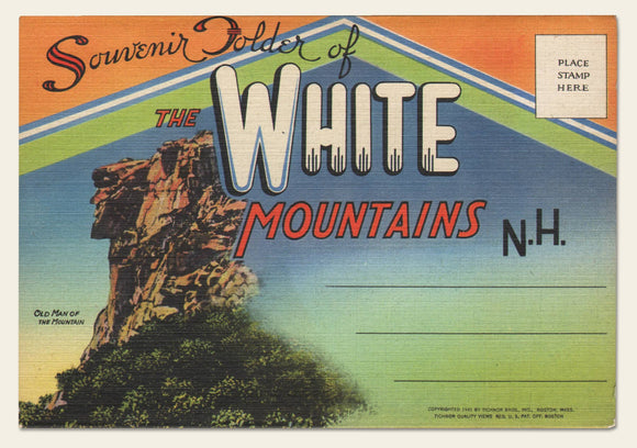 1947 White Mountains, NH Fold-Out Postcard