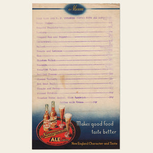 1930s Narragansett Brewery Menu