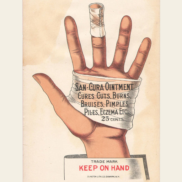 Early 20th Century San-Cura Paper Signs