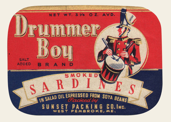 1940s Drummer Boy Sardines Label