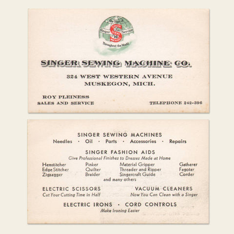 1930s Singer Sewing Machine Business Card