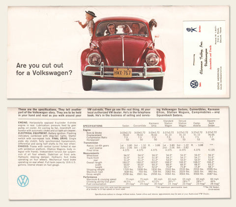 "1965 Volkswagen ""cut out"" brochure"