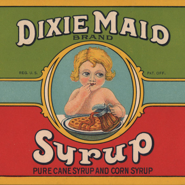 1920s Large Dixie Maid Syrup Label
