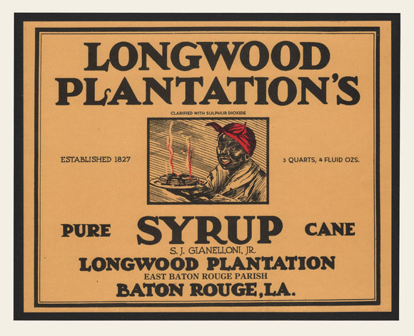 1920s Longwood Plantation's Syrup Label